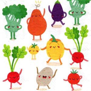 ペーパーナプキン(33)paper:(5枚)Happy Veggies-PA301