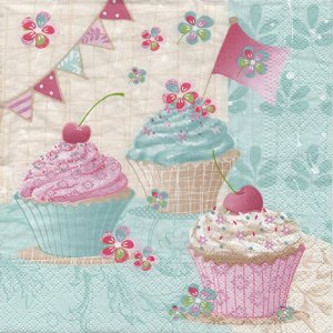 ペーパーナプキン(33)NOUVEAU:(5枚) Birthday Cup Cakes-NO111