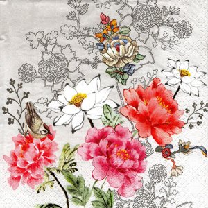 ペーパーナプキン(33)NOUVEAU:(5枚) Flower Silhouette-NO113