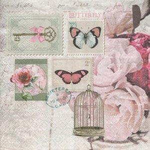 ペーパーナプキン(33)NOUVEAU:(5枚) Butterfly Stamp-NO118