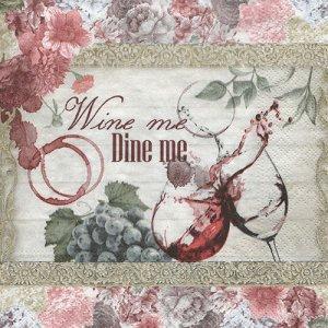 ペーパーナプキン(33)NOUVEAU:(5枚) Wine me Dine me-NO120