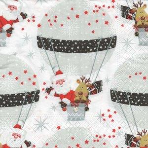 ペーパーナプキン(33)NOUVEAU:(5枚) Winter Ballooning-NO128