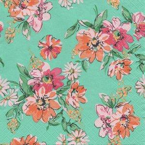 ペーパーナプキン(33)Daisy:(5枚)Flower Meadow Pattern Turquoise-DA116