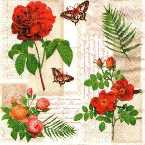 ペーパーナプキン(33)Maki:(5枚)Flowers and Butterflies-MA163