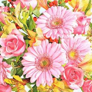 ペーパーナプキン(33)Maki:(5枚)Gerberas & Pink Roses-MA171