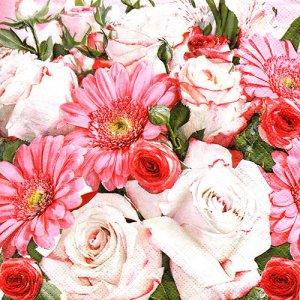 ペーパーナプキン(33)Maki:(5枚)Gerberas & White Roses-MA172