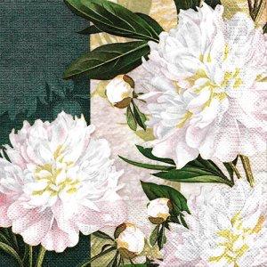 ペーパーナプキン(33)Maki:(5枚)Dewed White Peonies-MA173