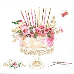 ペーパーナプキン(33)ppd:(5枚)Birthday Cake-PP349