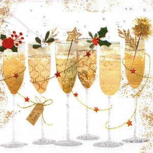 ペーパーナプキン(33)ppd:(5枚)Champagne Glasses-PP362