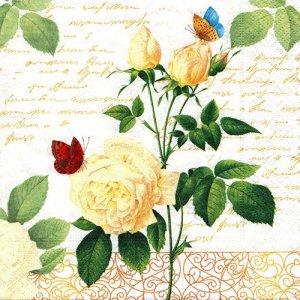 ペーパーナプキン(33)paper duni:(5枚)Rose Lace-PA323
