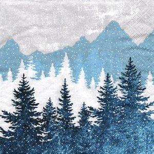 ペーパーナプキン(33)paper:(5枚)Forest silhouette blue-PA328