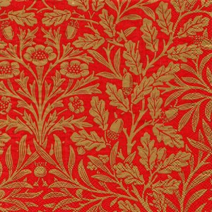 ペーパーナプキン(33)IHR:(5枚)ACORN(ウィリアム・モリス)red gold(V&A)-IH461