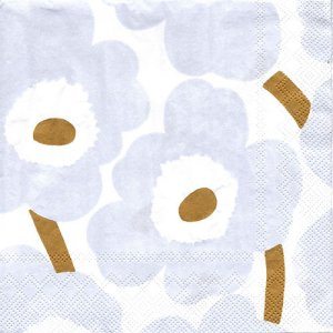 ペーパーナプキン(33)marimekkoマリメッコ:(5枚)【m-100】UNIKKO white silver