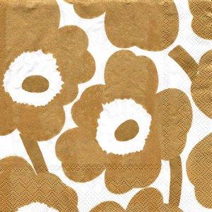 ペーパーナプキン(33)marimekkoマリメッコ:(5枚)【m-101】UNIKKO white gold