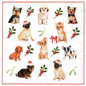 ペーパーナプキン(33)AMB:(5枚)CHRISTMAS DOGS-AM653