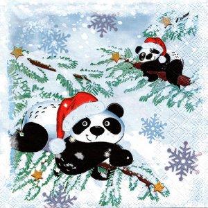 ペーパーナプキン(33)AMB:(5枚)PANDAS IN SNOW-AM659