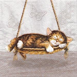ペーパーナプキン(33)AMB:(5枚)DREAMING CAT-AM668