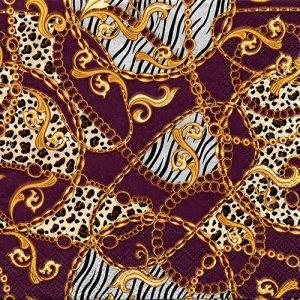 ペーパーナプキン(33)AMB:(5枚)Golden Pattern Berry-AM670