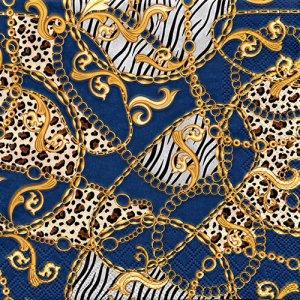ペーパーナプキン(33)AMB:(5枚)Golden Pattern  Blue-AM671
