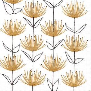 ペーパーナプキン(33)ppd:(5枚)Flowers on Fire gold-PP370