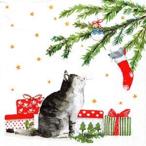 ペーパーナプキン(33)ppd:(5枚)Christmas Cat-PP372