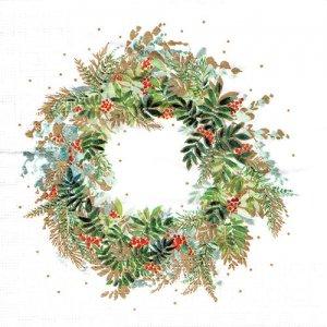 ペーパーナプキン(33)ppd:(5枚)Christmas Hill Wreath-PP376