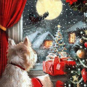 ペーパーナプキン(33)IHR:(5枚)DOG IS WAITING FOR CHRISTMAS-IH466