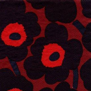 ペーパーナプキン(25)marimekkoマリメッコ:(5枚)【m-29】UNIKKO dark red