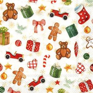 ペーパーナプキン(25)IHR:(5枚)FESTIVE CHRISTMAS TOYS cream-IH119(25)