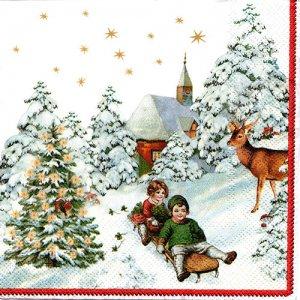 ペーパーナプキン(33)VB:(5枚)ANNUAL CHRISTMAS SNOW-VB10
