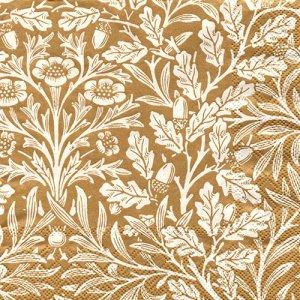 ペーパーナプキン(33)IHR:(5枚)ACORN(ウィリアム・モリス)gold cream(V&A)-IH483