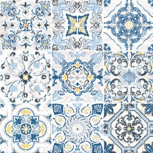 ペーパーナプキン(33)Nuova:(5枚)CASA DECOR BLUE-NU159