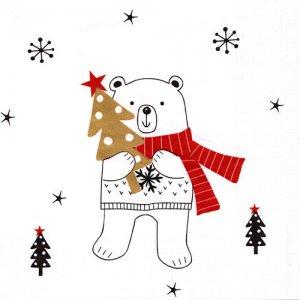 ペーパーナプキン(33)ppd:(5枚)X-mas Bear-PP394