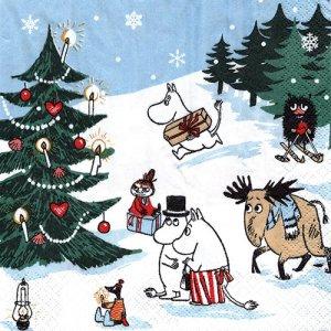 ペーパーナプキン(33)moominムーミン:(5枚)CHRISTMAS WONDERLAND-mo10
