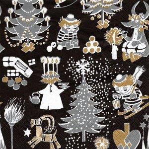 ペーパーナプキン(33)moominムーミン:(5枚)CHRISTMAS MOOMIN ブラック-mo12