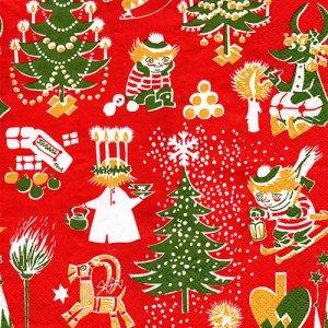 ペーパーナプキン(33)moominムーミン:(5枚)CHRISTMAS MOOMIN レッド-mo13