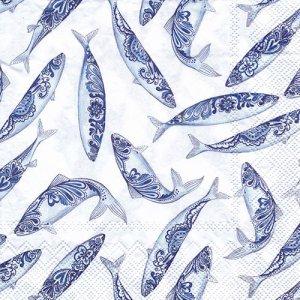 ペーパーナプキン(33)IHR:(5枚)DECORATIVE FISH white-IH553