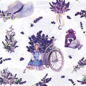 ペーパーナプキン(33)ti-flair:(5枚)Lavender Bouquets with Tilda Doll-TI123