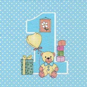 ペーパーナプキン(33)Maki:(5枚)First Birthday with Teddy ブルー-MA174