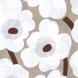 ペーパーナプキン(33)marimekkoマリメッコ:(5枚)【m-112】UNIKKO white linen