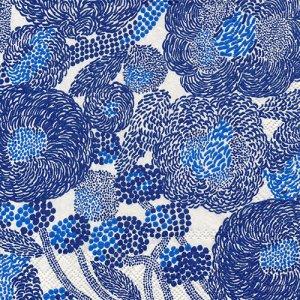 ペーパーナプキン(33)marimekkoマリメッコ:(5枚)【m-116】MYNSTERI cream blue