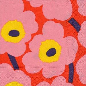 ペーパーナプキン(33)marimekkoマリメッコ:(5枚)【m-118】UNIKKO rose orange