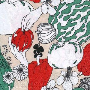 ペーパーナプキン(33)marimekkoマリメッコ:(5枚)【m-128】VIHANNESMAA linen