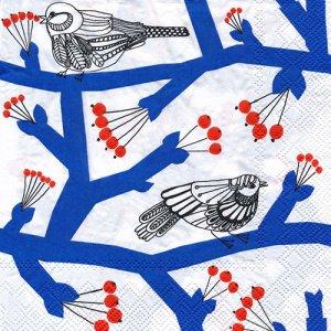 ペーパーナプキン(33)marimekkoマリメッコ:(5枚)【m-130】PAKKANEN blue