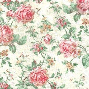 ペーパーナプキン(33)Daisy:(5枚)English Style Roses Ecru-DA130