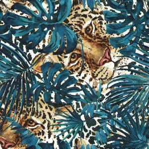 ペーパーナプキン(33)Daisy:(5枚)Hidden Leopard with Turquoise Monstera-DA129