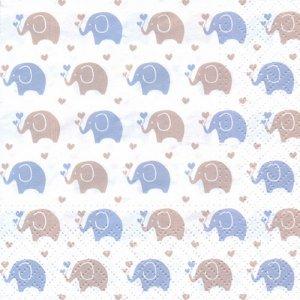 ペーパーナプキン(33)paw:(5枚)Baby Elephants (blue)-PW222