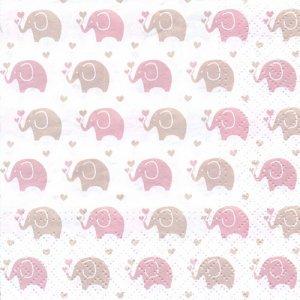 ペーパーナプキン(33)paw:(5枚)Baby Elephants (pink)-PW223