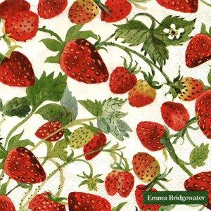 ペーパーナプキン(33)IHR:(5枚)STRAWBERRIES cream-IH560