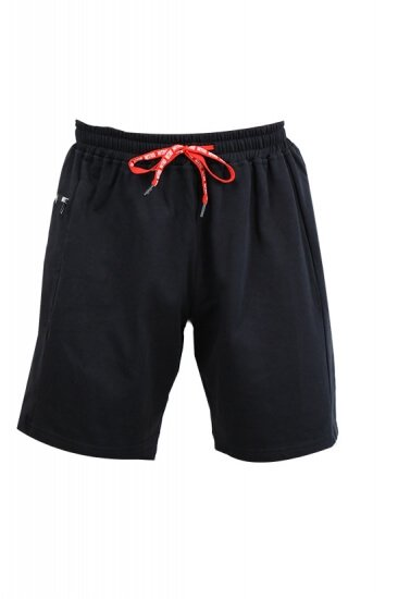 HORIZONTAL ZIPPER HALF SHORTS BLACK